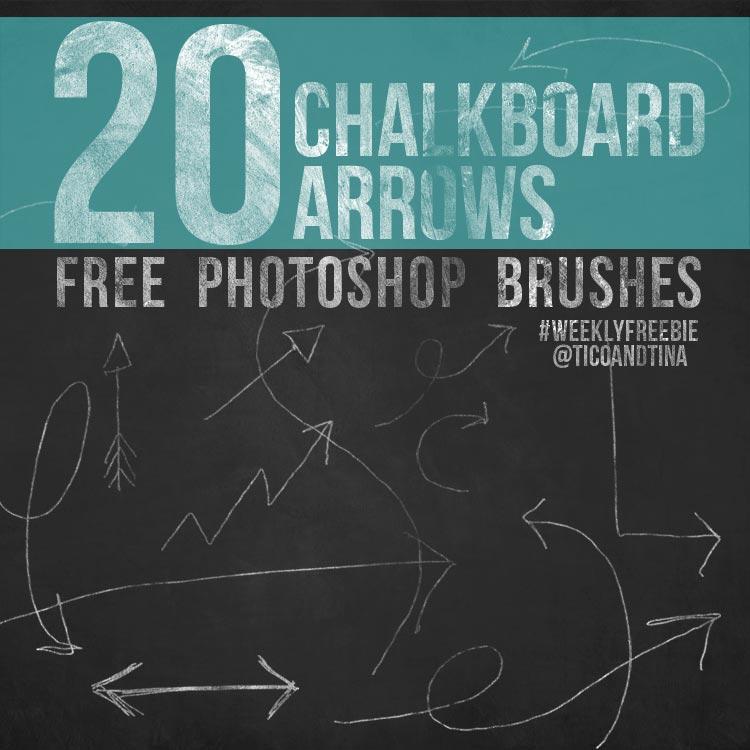 FREE Photoshop Brushes: 20 Chalkboard Art Arrows