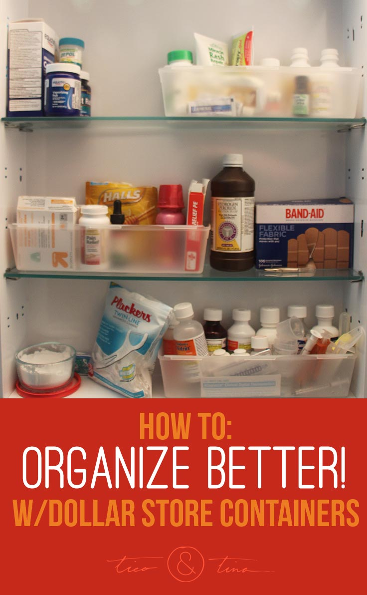 Sometimes the best solutions are the simplest - dollar store containers helped to tackle these 3 problem areas and the possibilities are endless! | Freezer Organization | Medicine Cabinet Organization | TicoandTina.com