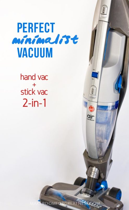 multi-use products are a minimalist's best friend - this Hoover Air Cordless 2-in-1 is a hand vac and stick vac that works on hard floors as well as carpet and has a tiny footprint