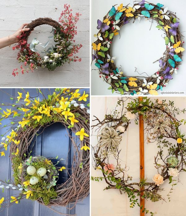 minimalist holiday decor - good base items as part of your regular decor that you can just customize for each holiday or season   spring wreath, spring decor, nature decor