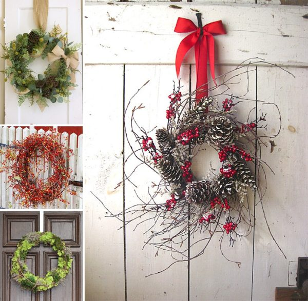 minimalist holiday decor - good base items as part of your regular decor that you can just customize for each holiday or season   christmas wreath, winter wreath, nature decor, christmas decor, winter decor