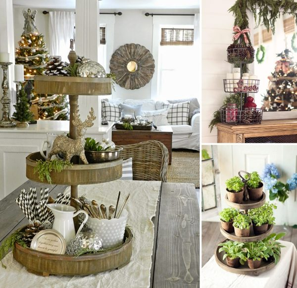 minimalist holiday decor - good base items as part of your regular decor that you can just customize for each holiday or season   tiered tray