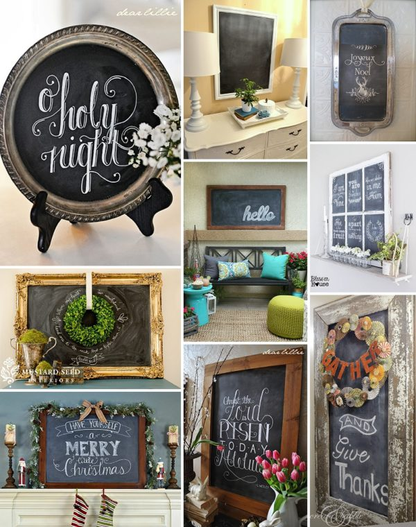 minimalist holiday decor - good base items as part of your regular decor that you can just customize for each holiday or season   chalkboard decor, winter chalkboard, christmas chalkboard, fall chalkboard, spring chalkboard, summer chalkboard