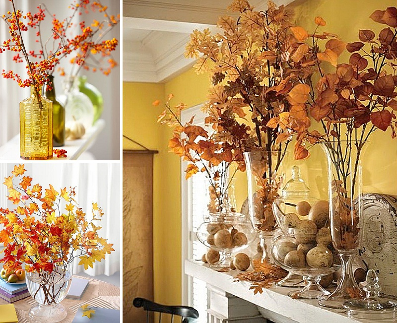 minimalist holiday decor - good base items as part of your regular decor that you can just customize for each holiday or season   fall branches, fall decor