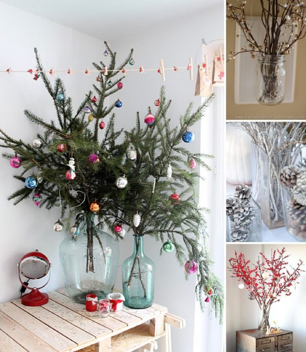 minimalist holiday decor - good base items as part of your regular decor that you can just customize for each holiday or season   winter branches, winter decor