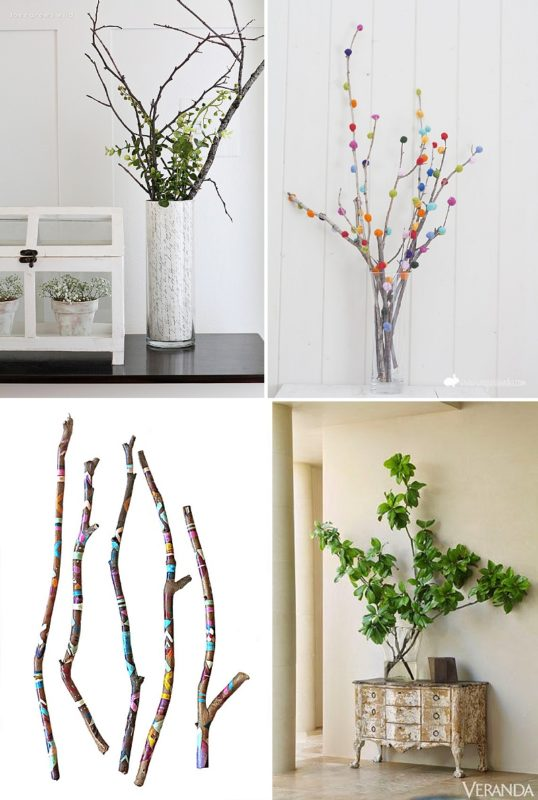 minimalist holiday decor - good base items as part of your regular decor that you can just customize for each holiday or season   summer branches, summer decor