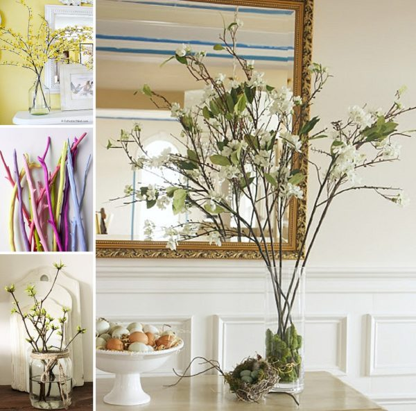 minimalist holiday decor - good base items as part of your regular decor that you can just customize for each holiday or season   spring branches, spring decor