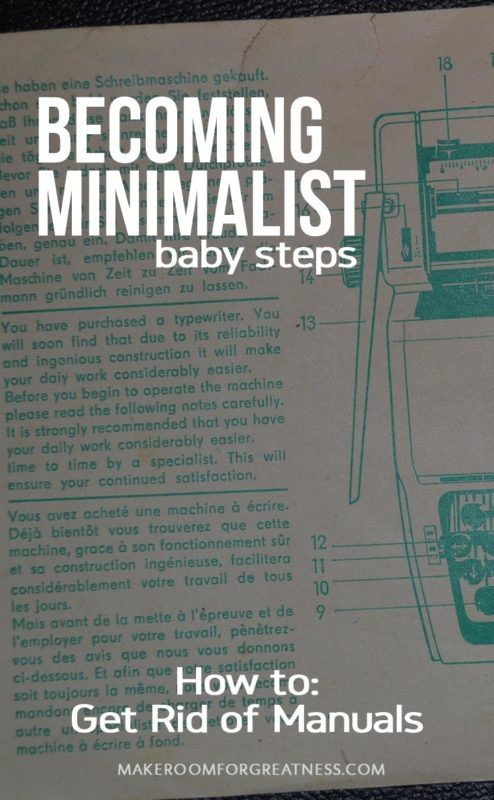 Becoming Minimalist Baby Steps: Get Rid of Manuals